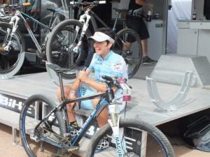 Haibike Teamfahrerin Sabine Spitz nach ihrem Gewinn der Silbermedaille auf dem Eurobike Demoday